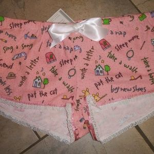 Lorrie Dee Pink Conversation Print Flannel Shorts